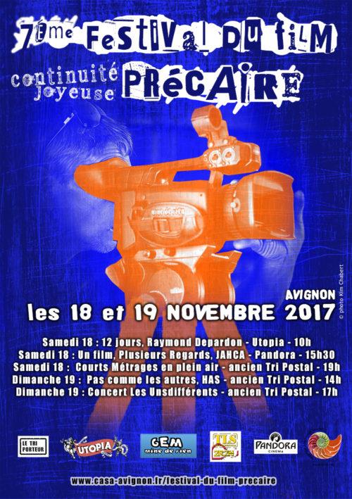 Affiche du 7éme festival du film précaire d'Avignon 2017