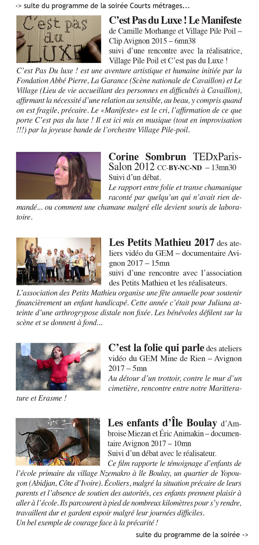 Programme du 7éme festival du film précaire d'Avignon 2017